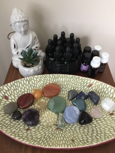 Essential oils, flower essences and energetic stones are intuitively used